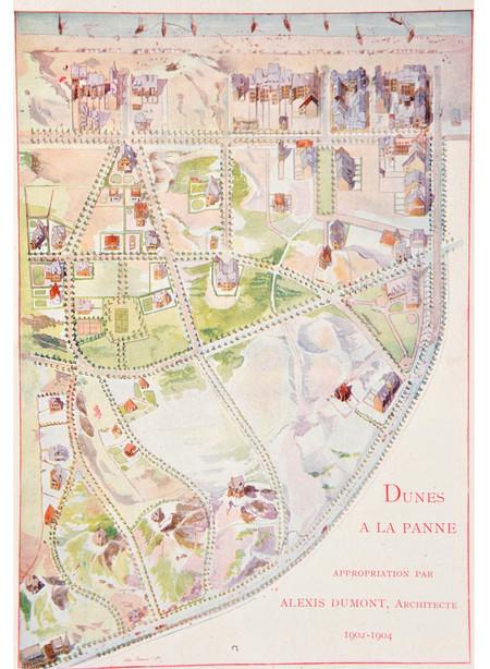 La Panne, le Quartier Dumont, plan en aquarelle dessiné par l'architecte Alexis Dumont montrant la situation en 1904. Plan publié dans Le Cottage, 5, 1904, page 207.