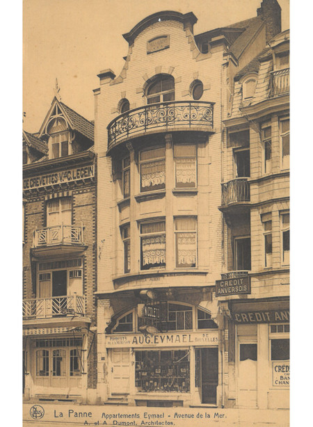 Zeelaan, La Panne,  Appartements Eymael, détruits (© Collection cartes postales, Yves Dumont - ARCHYVES)