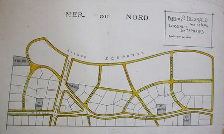 Lotissement à Saint-Idesbald, Coxyde, plan général coloré en jaune par Yves Dumont (© Fondation CIVA Stichting/AAM, Brussels)