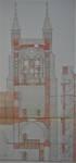 Parochiekerk Sint-Petrus, Loker, coupe de la tour avec structure en bois du clocher (© Fondation CIVA Stichting/AAM, Brussels)