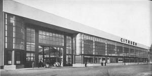 Place de l'Yser 7, Bruxelles, Citroën, ateliers, façade coté quai de Willebroeck  (L'Ossature métallique, 2, février 1935, p. 62)