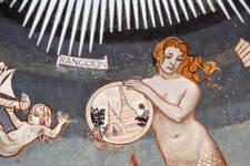 Rue Ravenstein 26-46, Bruxelles, Assurances Trieste, détail de la coupole du hall d'entrée peinte par George M. Baltus (© ARCHistory, photo 2019)