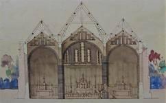 Parochiekerk Sint-Laurentius, Kemmel, coupe dans le chœur en aquarelle (© Fondation CIVA Stichting/AAM, Brussels)