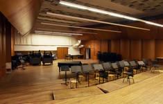 Rue Ravenstein 26-46, Bruxelles, Assurances Trieste, salle de répétition du Belgian National Orchestra (© ARCHistory, photo 2019)