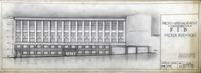 Rue Ravenstein 4, Bruxelles, siège de l'ancienne Fédération des Industries Belges - FIB, aujourd'hui FEB, projet de façade rue des Sols, 1955 (© Collection Yves Dumont - ARCHYVES)
