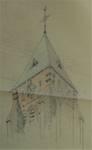 Parochiekerk Sint-Laurentius, Kemmel, croquis en crayons de couleur de la tour modifiée (© Fondation CIVA Stichting/AAM, Brussels)