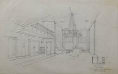 Rue Ravenstein 4, Bruxelles, siège de l'ancienne Fédération des Industries Belges - FIB, aujourd'hui FEB, projet de foyer, 1955, Philippe Dumont et José Vanden Bossche (© Collection Yves Dumont - ARCHYVES)
