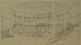 Galerie Ravenstein, Bruxelles, projet de la rotonde avec la fontaine (© Fondation CIVA Stichting/AAM, Brussels)