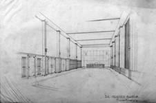 Rue Ravenstein 4, Bruxelles, siège de l'ancienne Fédération des Industries Belges - FIB, aujourd'hui FEB, esquisse de grande salle (© Collection Yves Dumont - ARCHYVES)