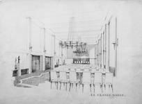 Rue Ravenstein 4, Bruxelles, siège de l'ancienne Fédération des Industries Belges - FIB, aujourd'hui FEB, projet de grande salle (© Collection Yves Dumont - ARCHYVES)