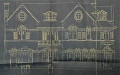 Lotissement à Saint-Idesbald, Coxyde, élévation d'une villa balnéaire de ca. 1910, archives communales de Coxyde, bouwdossiers, nr. 1