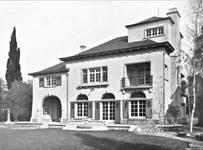 Avenue Henri Pirenne 21, Uccle, façade vers le jardin (© Dumont, Dumont & Van Goethem, Quelques travaux d'architecture, [1939], p. 14)