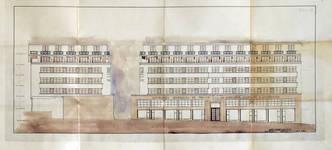 Rue Ravenstein 26-46, Bruxelles, Assurances Trieste, élévation après exhaussement d'un étage, AVB/TP 60060, 1948