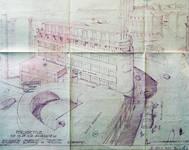 Rue Ravenstein 26-46, Bruxelles, Assurances Trieste, perspective depuis la rue Ravenstein, AVB/TP 67196, 1955