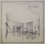 Galerie Ravenstein, Bruxelles, perspective intérieure du hall vers les bureaux (© Fondation CIVA Stichting/AAM, Brussels)