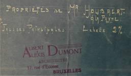 Lotissement à Saint-Idesbald, Coxyde, cachet des architectes sur un plan de 1912, archives communales de Coxyde, bouwdossiers, nr. 25