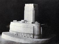 Rue Ravenstein 48-70 et Cantersteen 39-55, Bruxelles, Shell Building, maquette du projet d'extension  (© Bâtir, 22, 1934, p. 837)