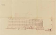 Rue Ravenstein 48-70 et Cantersteen 39-55, Bruxelles, Shell Building, projet de tour, 1952 (© Fondation CIVA Stichting/AAM, Brussels)