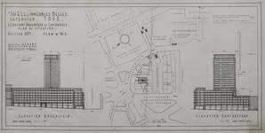 Rue Ravenstein 48-70 et Cantersteen 39-55, Bruxelles, Shell Building, projet de tour, Philippe Dumont, 1962 (© Fondation CIVA Stichting/AAM, Brussels)