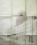 Rue Ravenstein 48-70 et Cantersteen 39-55, Bruxelles, Shell Building, perspective côté Cantersteen avec projet de tour,  AVB/TP 67548, 1937