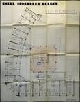 Rue Ravenstein 48-70 et Cantersteen 39-55, Bruxelles, Shell Building, plan du rez-de-chaussée avec projet de tour,  AVB/TP 67548, 1937