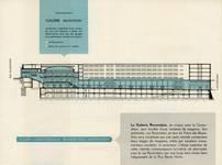 Galerie Ravenstein, Bruxelles, coupe longitudinale, brochure de présentation de la galerie Ravenstein, 1957