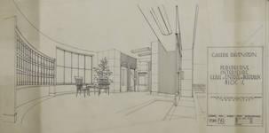 Galerie Ravenstein, Bruxelles, avant-projet de hall d'entrée des bureaux, 1955 (© Collection Yves Dumont - ARCHYVES)