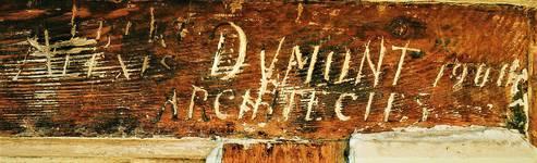 Koning Albertplein 3, La Panne, Villa 'Linette', signature sur la menuiserie (© T. Verhofstadt, photo 2001)
