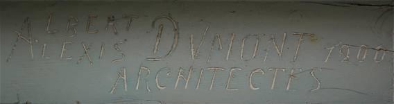 Koning Albertplein 3, La Panne, Villa 'Linette', signature sur la menuiserie (© T. Verhofstadt, photo 2019)