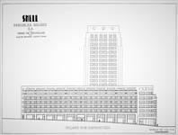 Shell Building, élévation sur la rue Ravenstein avec la tour projetée in Dumont, Dumont & Van Goethem, <i>Quelques travaux d'architecture</i>, [1939], p. 28.